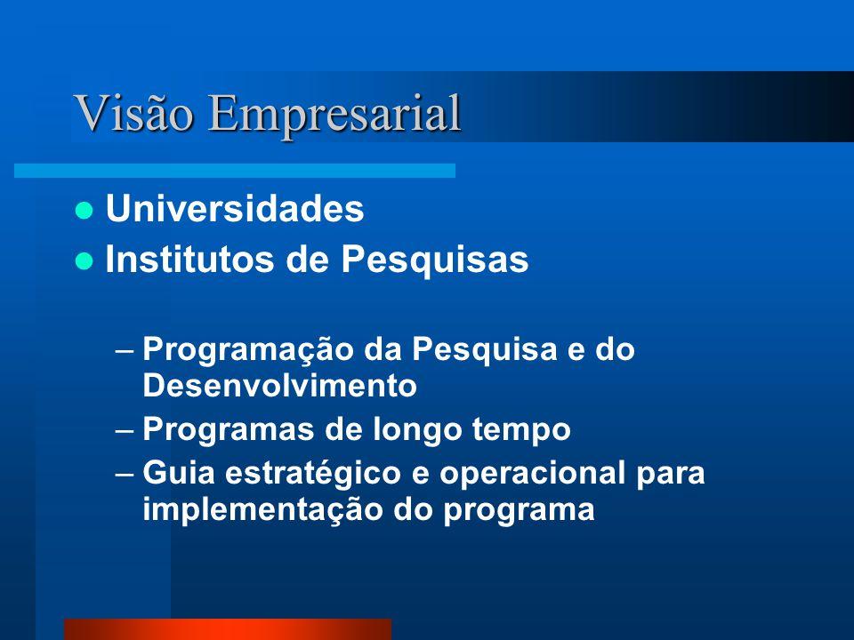Visão Empresarial Universidades Institutos de Pesquisas –Programação da Pesquisa e do Desenvolvimento –Programas de longo tempo –Guia estratégico e operacional para implementação do programa