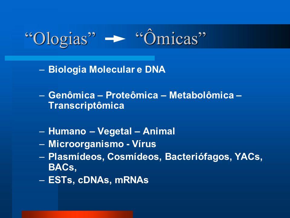 Ologias Ômicas –Biologia Molecular e DNA –Genômica – Proteômica – Metabolômica – Transcriptômica –Humano – Vegetal – Animal –Microorganismo - Vírus –Plasmídeos, Cosmídeos, Bacteriófagos, YACs, BACs, –ESTs, cDNAs, mRNAs
