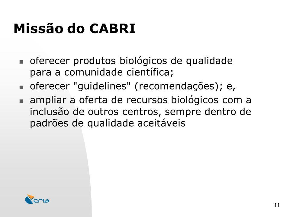 11 Missão do CABRI oferecer produtos biológicos de qualidade para a comunidade científica; oferecer guidelines (recomendações); e, ampliar a oferta de recursos biológicos com a inclusão de outros centros, sempre dentro de padrões de qualidade aceitáveis