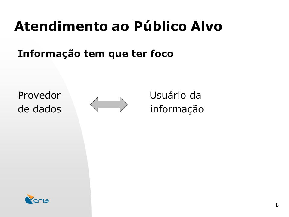 8 Atendimento ao Público Alvo Informação tem que ter foco Provedor Usuário da de dados informação