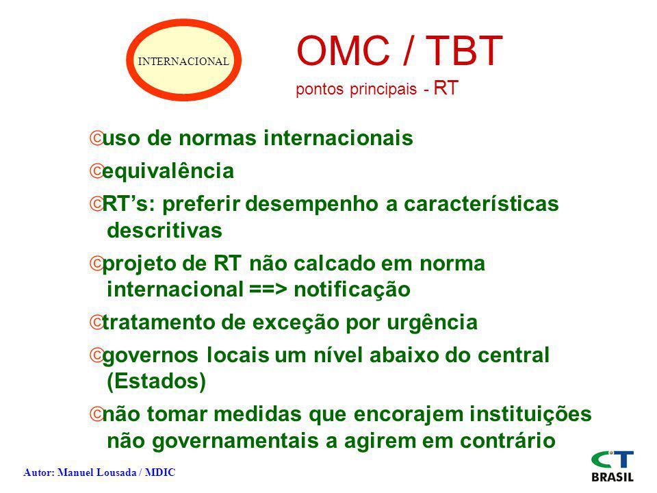 INTERNACIONAL OMC / TBT pontos principais - RT ãuso de normas internacionais ãequivalência ãRTs: preferir desempenho a características descritivas ãpr