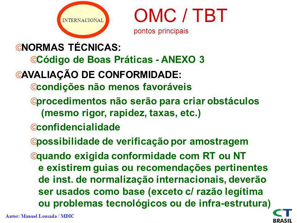 INTERNACIONAL OMC / TBT pontos principais ãNORMAS TÉCNICAS: ãCódigo de Boas Práticas - ANEXO 3 ãAVALIAÇÃO DE CONFORMIDADE: ãcondições não menos favorá
