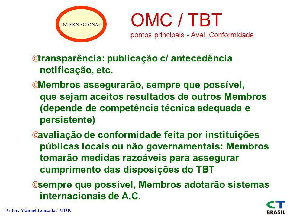 INTERNACIONAL OMC / TBT pontos principais - Aval. Conformidade ãtransparência: publicação c/ antecedência notificação, etc. ãMembros assegurarão, semp