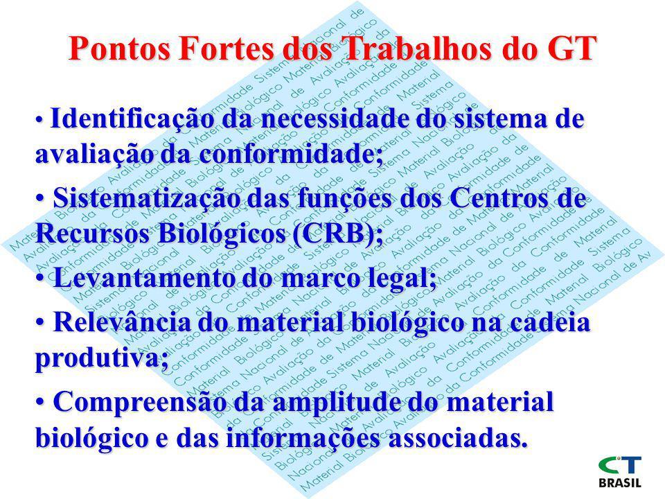 Pontos Fortes dos Trabalhos do GT Identificação da necessidade do sistema de avaliação da conformidade; Identificação da necessidade do sistema de ava