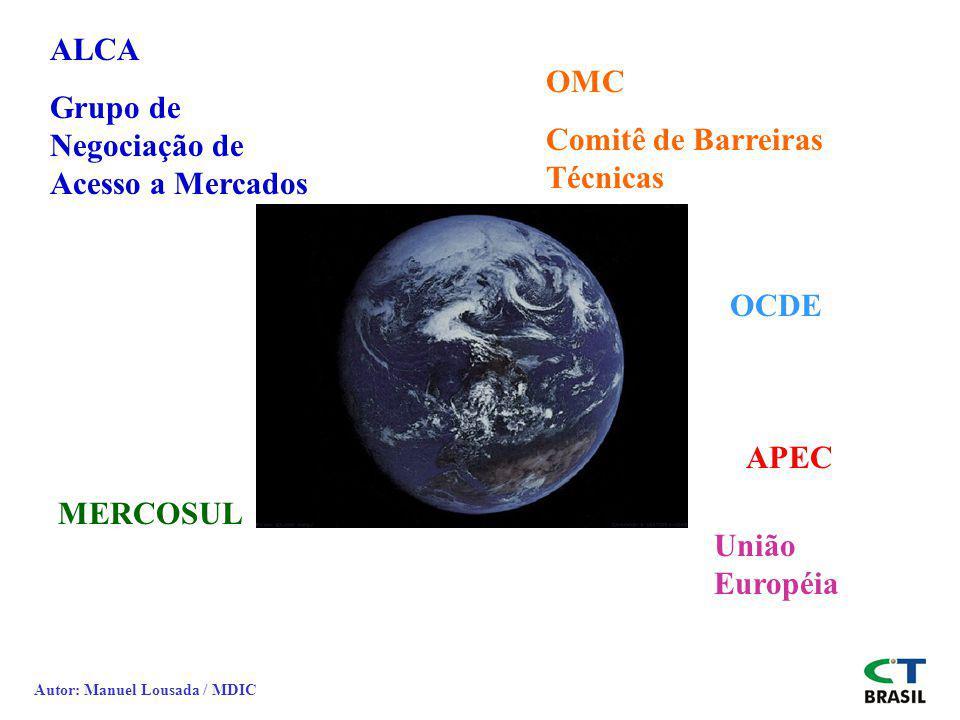 ALCA Grupo de Negociação de Acesso a Mercados MERCOSUL OMC Comitê de Barreiras Técnicas APEC União Européia OCDE Autor: Manuel Lousada / MDIC