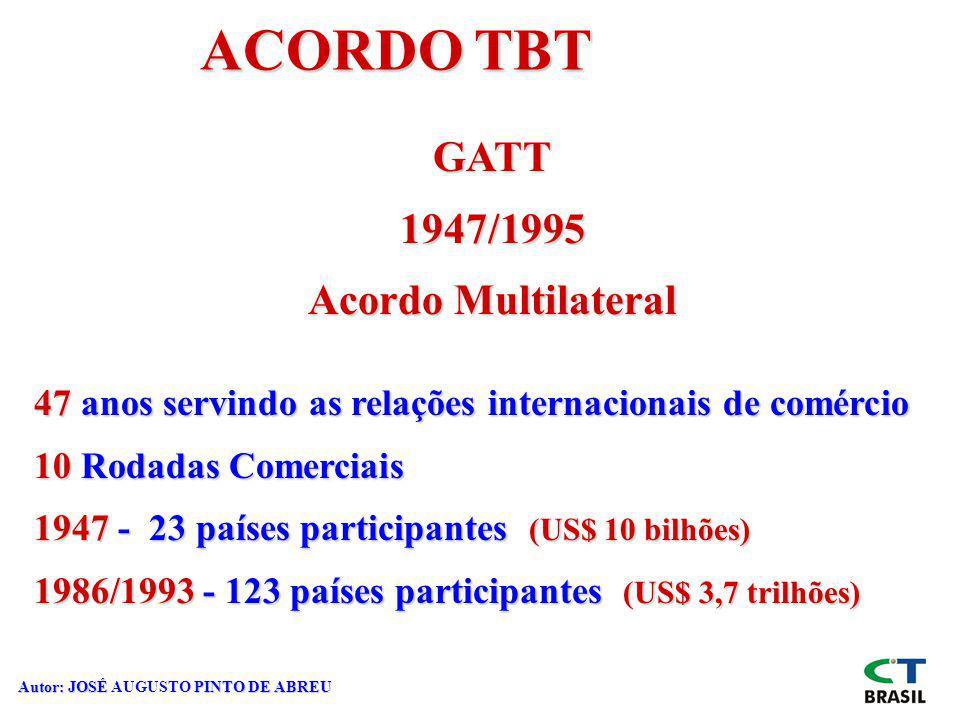 Autor: JOSÉ PINTO DE ABREU Autor: JOSÉ AUGUSTO PINTO DE ABREU ACORDO TBT GATT1947/1995 Acordo Multilateral 47 anos servindo as relações internacionais