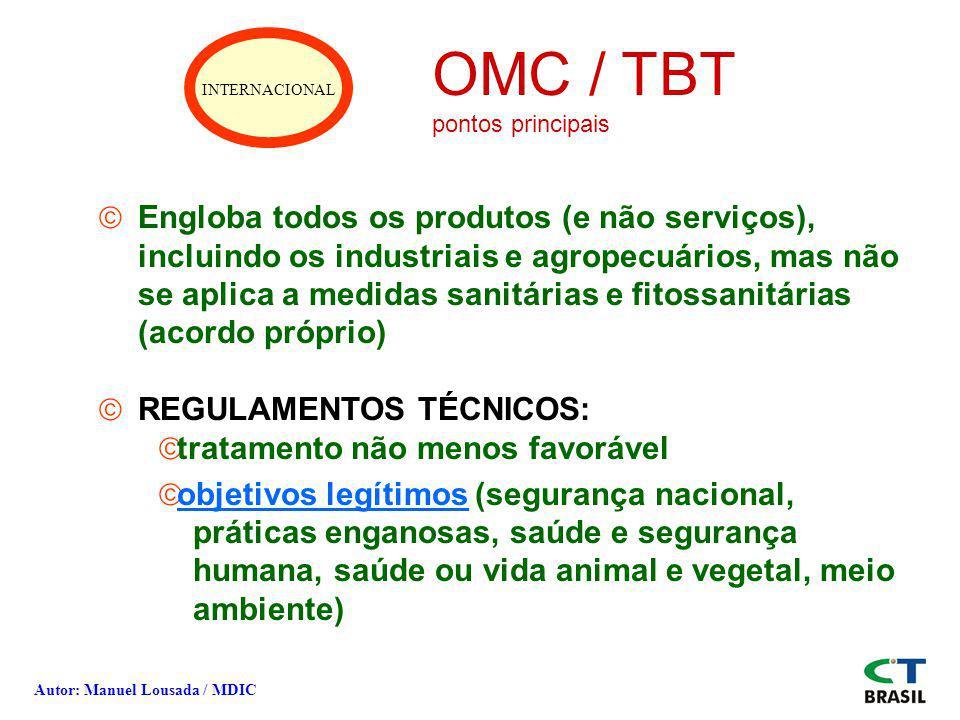 INTERNACIONAL OMC / TBT pontos principais ãEngloba todos os produtos (e não serviços), incluindo os industriais e agropecuários, mas não se aplica a m