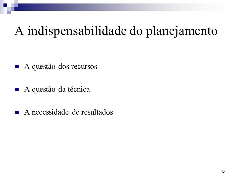 A indispensabilidade do planejamento A questão dos recursos A questão da técnica A necessidade de resultados 5