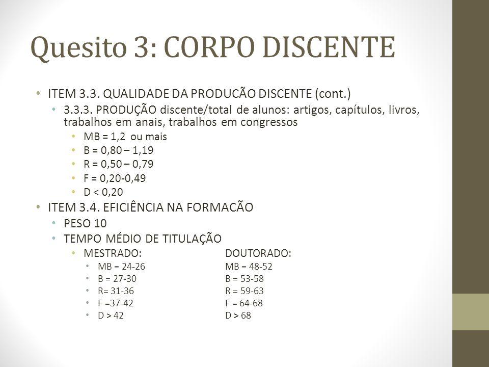 Quesito 3: CORPO DISCENTE ITEM 3.3. QUALIDADE DA PRODUCÃO DISCENTE (cont.) 3.3.3.