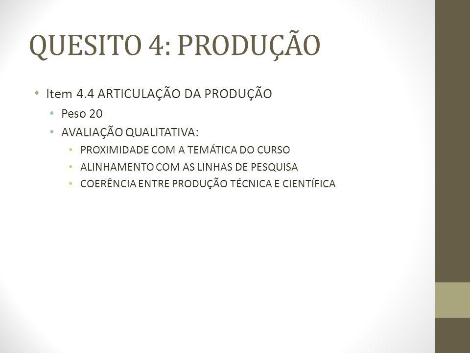QUESITO 4: PRODUÇÃO Item 4.4 ARTICULAÇÃO DA PRODUÇÃO Peso 20 AVALIAÇÃO QUALITATIVA: PROXIMIDADE COM A TEMÁTICA DO CURSO ALINHAMENTO COM AS LINHAS DE PESQUISA COERÊNCIA ENTRE PRODUÇÃO TÉCNICA E CIENTÍFICA