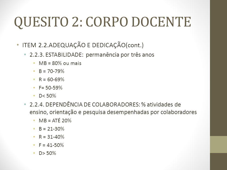 QUESITO 2: CORPO DOCENTE ITEM 2.2.ADEQUAÇÃO E DEDICAÇÃO(cont.) 2.2.3.