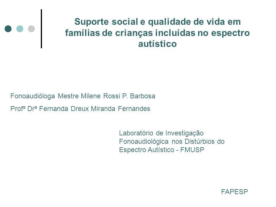 Suporte social e qualidade de vida em famílias de crianças incluídas no espectro autístico Fonoaudióloga Mestre Milene Rossi P.