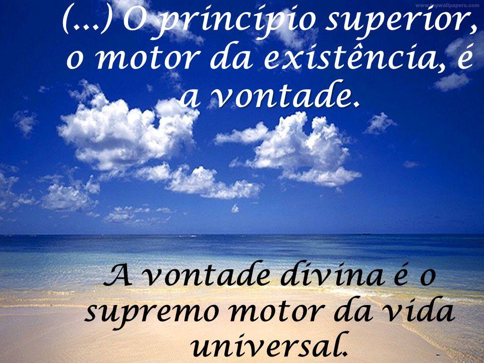 vontade. (...) O princípio superior, o motor da existência, é a vontade. A vontade divina é o supremo motor da vida universal.