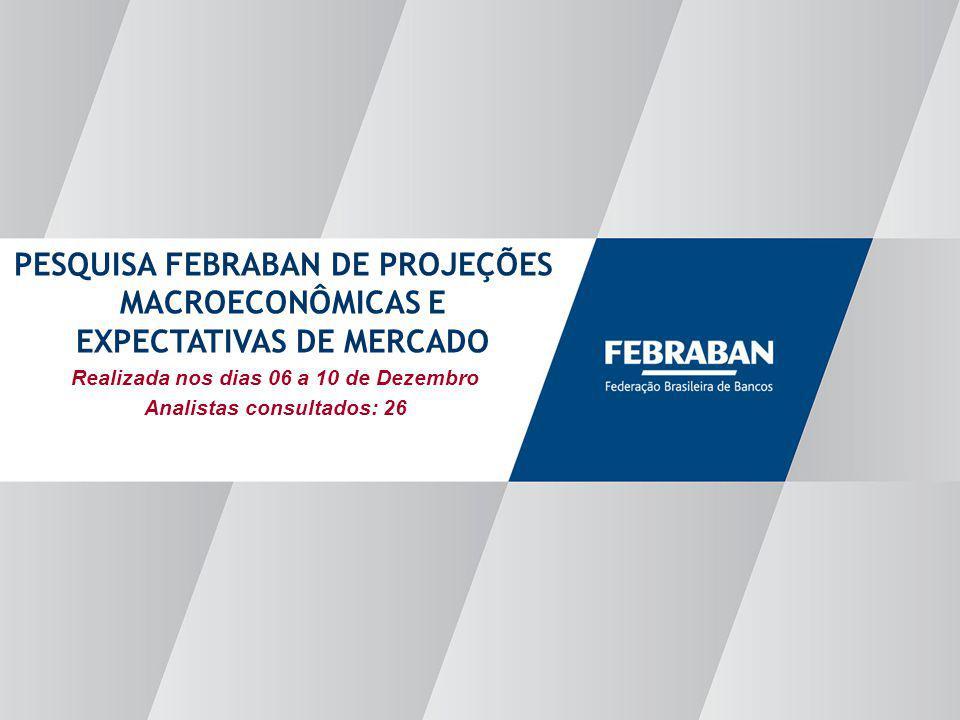 Apresentação ao Senado Realizada nos dias 06 a 10 de Dezembro Analistas consultados: 26 PESQUISA FEBRABAN DE PROJEÇÕES MACROECONÔMICAS E EXPECTATIVAS DE MERCADO