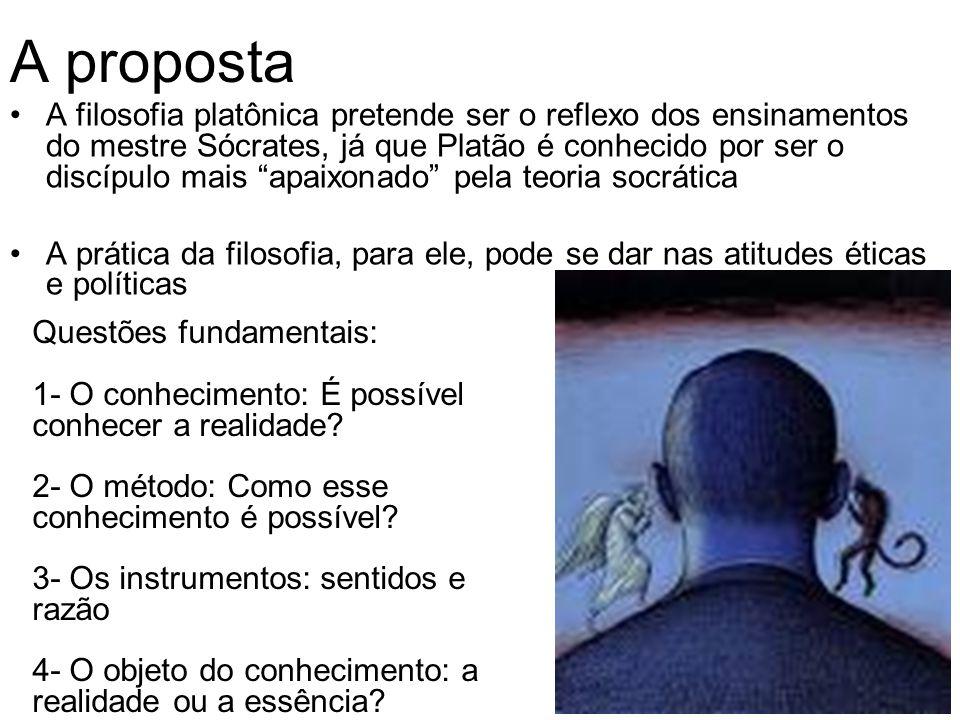 A proposta A filosofia platônica pretende ser o reflexo dos ensinamentos do mestre Sócrates, já que Platão é conhecido por ser o discípulo mais apaixo