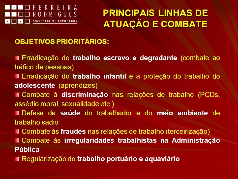 PRINCIPAIS LINHAS DE ATUAÇÃO E COMBATE OBJETIVOS PRIORITÁRIOS: Erradicação do trabalho escravo e degradante (combate ao tráfico de pessoas) Erradicaçã