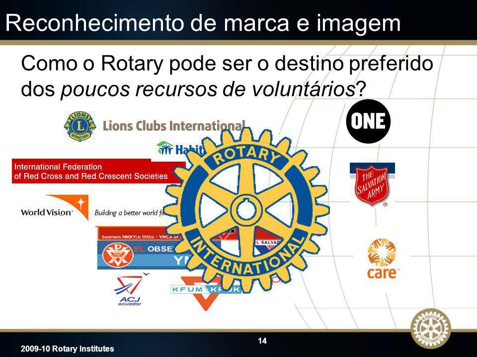 14 2009-10 Rotary Institutes Reconhecimento de marca e imagem Como o Rotary pode ser o destino preferido dos poucos recursos de voluntários?