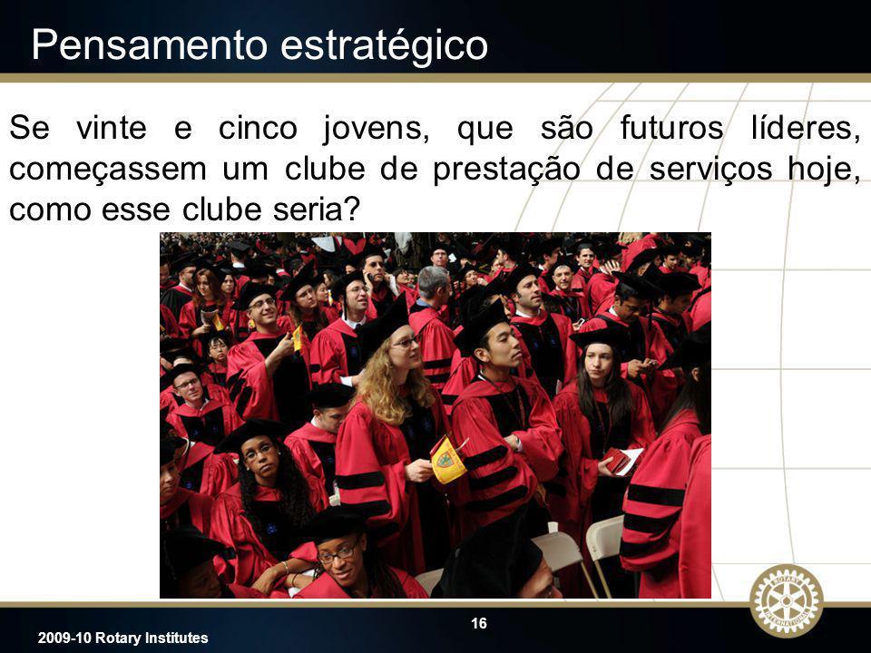 16 2009-10 Rotary Institutes Se vinte e cinco jovens, que são futuros líderes, começassem um clube de prestação de serviços hoje, como esse clube seri