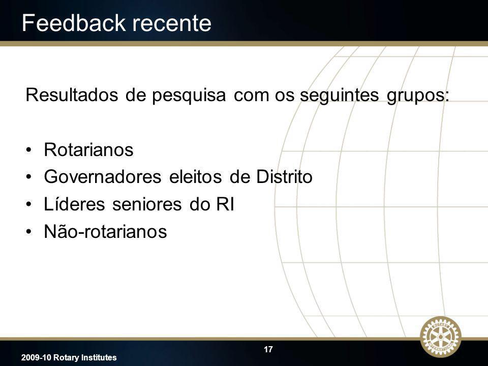 17 2009-10 Rotary Institutes Feedback recente Resultados de pesquisa com os seguintes grupos: Rotarianos Governadores eleitos de Distrito Líderes seni