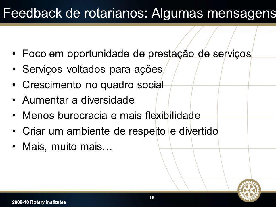 18 2009-10 Rotary Institutes Feedback de rotarianos: Algumas mensagens Foco em oportunidade de prestação de serviços Serviços voltados para ações Cres