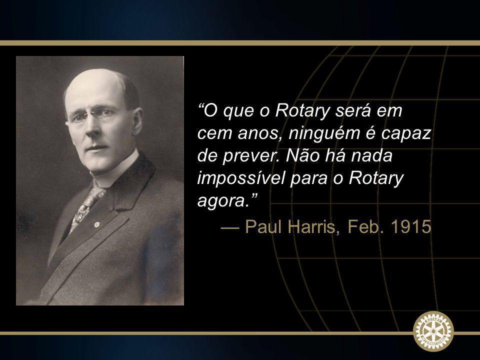 2 2009-10 Rotary Institutes O que o Rotary será em cem anos, ninguém é capaz de prever. Não há nada impossível para o Rotary agora. Paul Harris, Feb.
