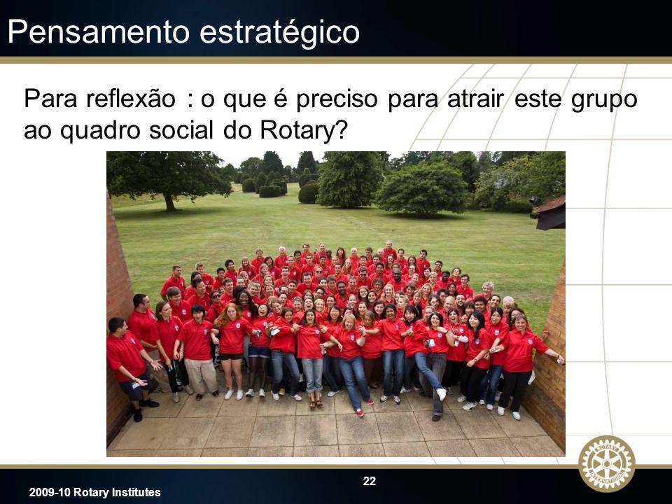 22 2009-10 Rotary Institutes Pensamento estratégico Para reflexão : o que é preciso para atrair este grupo ao quadro social do Rotary?