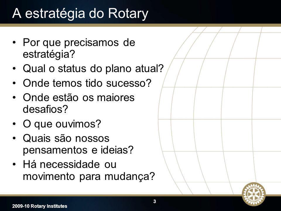 3 2009-10 Rotary Institutes A estratégia do Rotary Por que precisamos de estratégia? Qual o status do plano atual? Onde temos tido sucesso? Onde estão