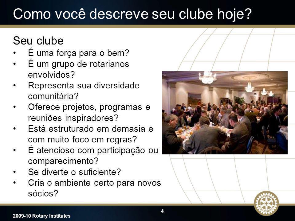 4 2009-10 Rotary Institutes Como você descreve seu clube hoje? Seu clube É uma força para o bem? É um grupo de rotarianos envolvidos? Representa sua d