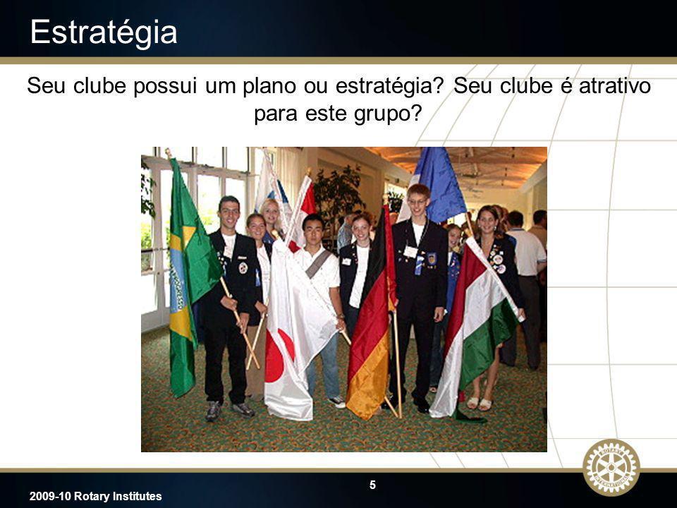 5 2009-10 Rotary Institutes Estratégia Seu clube possui um plano ou estratégia? Seu clube é atrativo para este grupo?