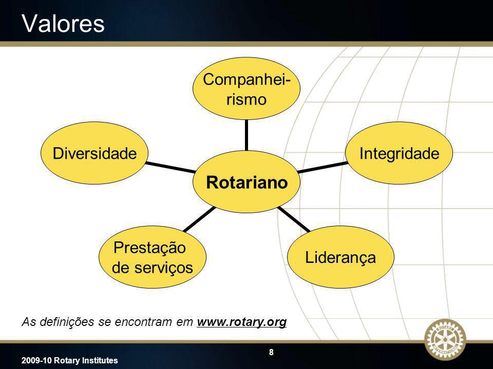 8 2009-10 Rotary Institutes Valores As definições se encontram em www.rotary.orgwww.rotary.org Rotariano Companhei- rismo IntegridadeLiderança Prestaç