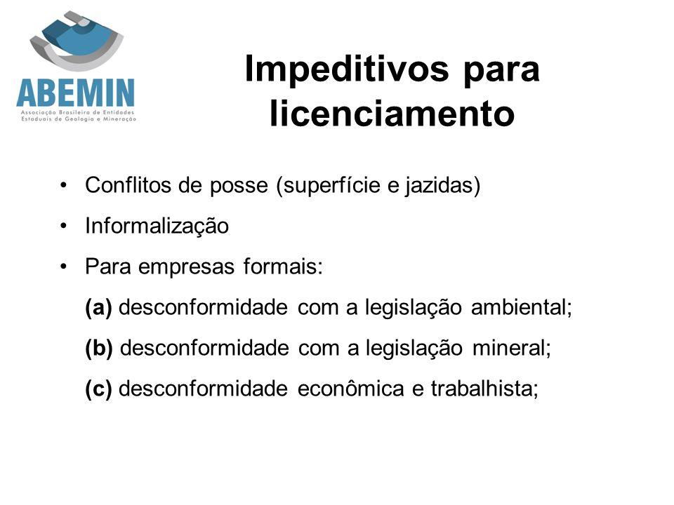 Impeditivos para licenciamento Conflitos de posse (superfície e jazidas) Informalização Para empresas formais: (a) desconformidade com a legislação am