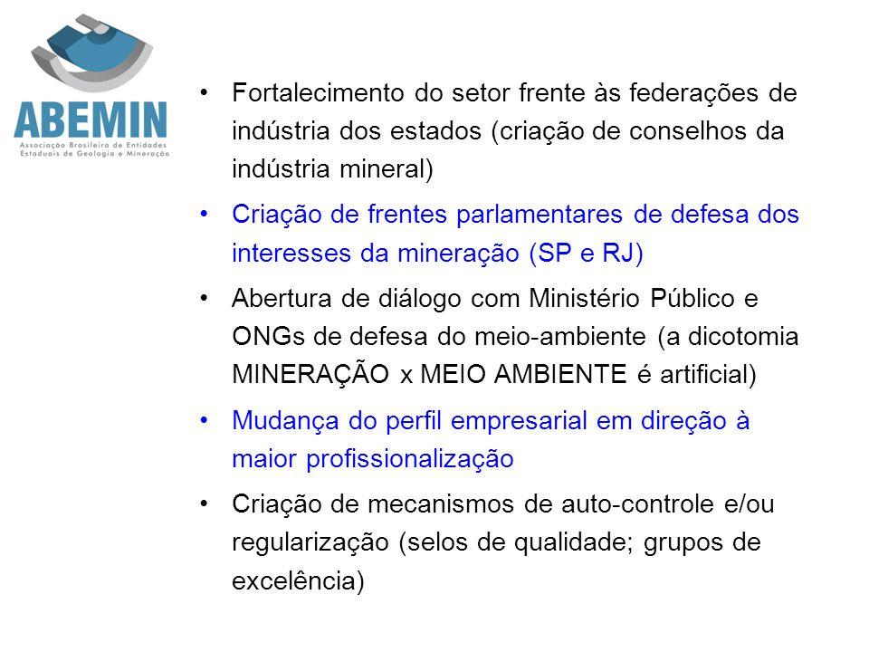 Fortalecimento do setor frente às federações de indústria dos estados (criação de conselhos da indústria mineral) Criação de frentes parlamentares de