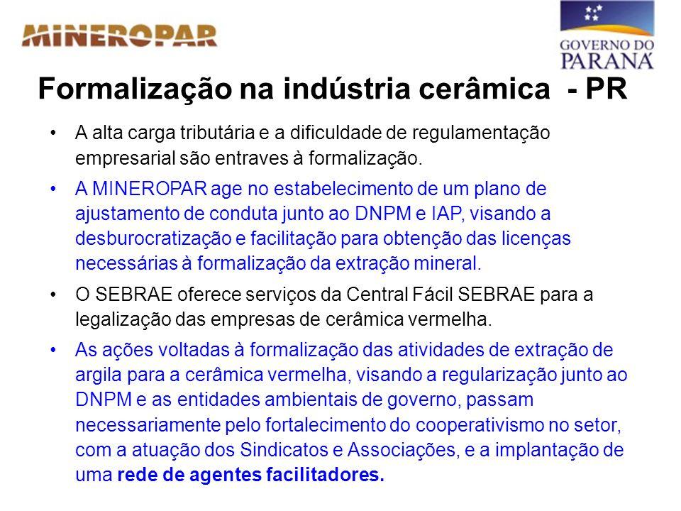 Formalização na indústria cerâmica - PR A alta carga tributária e a dificuldade de regulamentação empresarial são entraves à formalização. A MINEROPAR