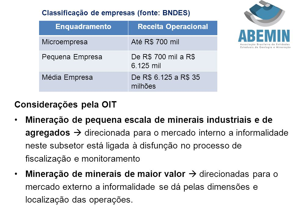 Características da Micro e Pequena Indústria Mineral Sazonalidade da atividade, principalmente na mineração artesanal.