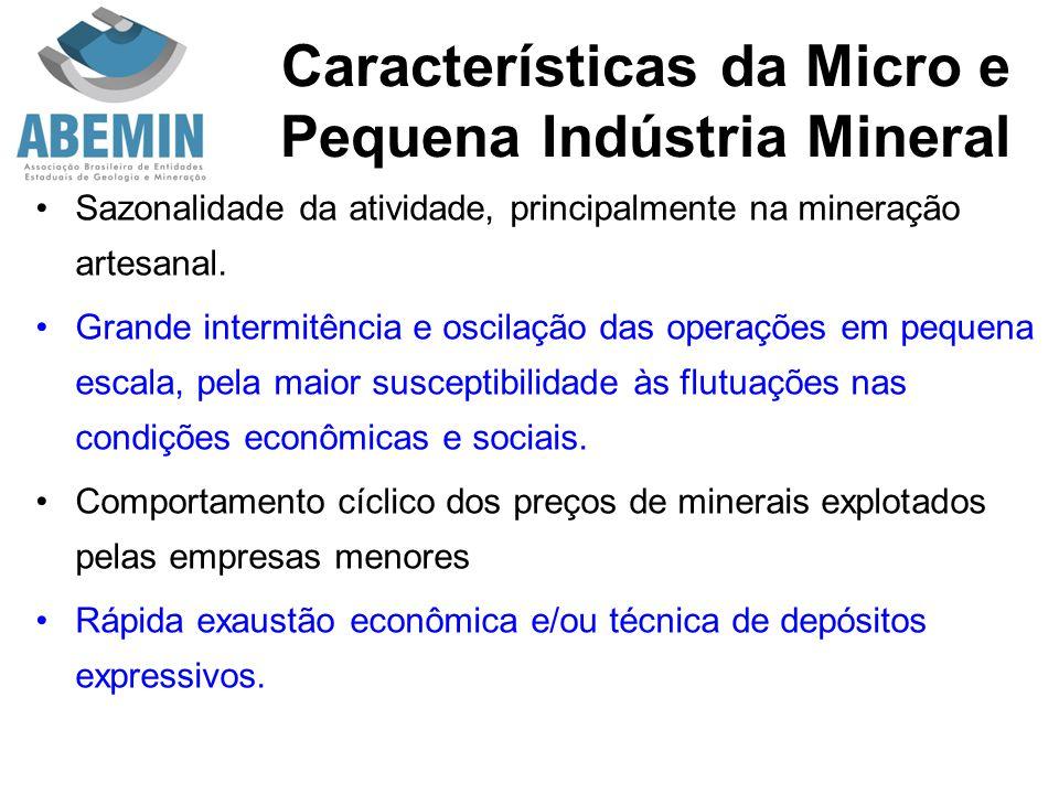 Características da Micro e Pequena Indústria Mineral Sazonalidade da atividade, principalmente na mineração artesanal. Grande intermitência e oscilaçã
