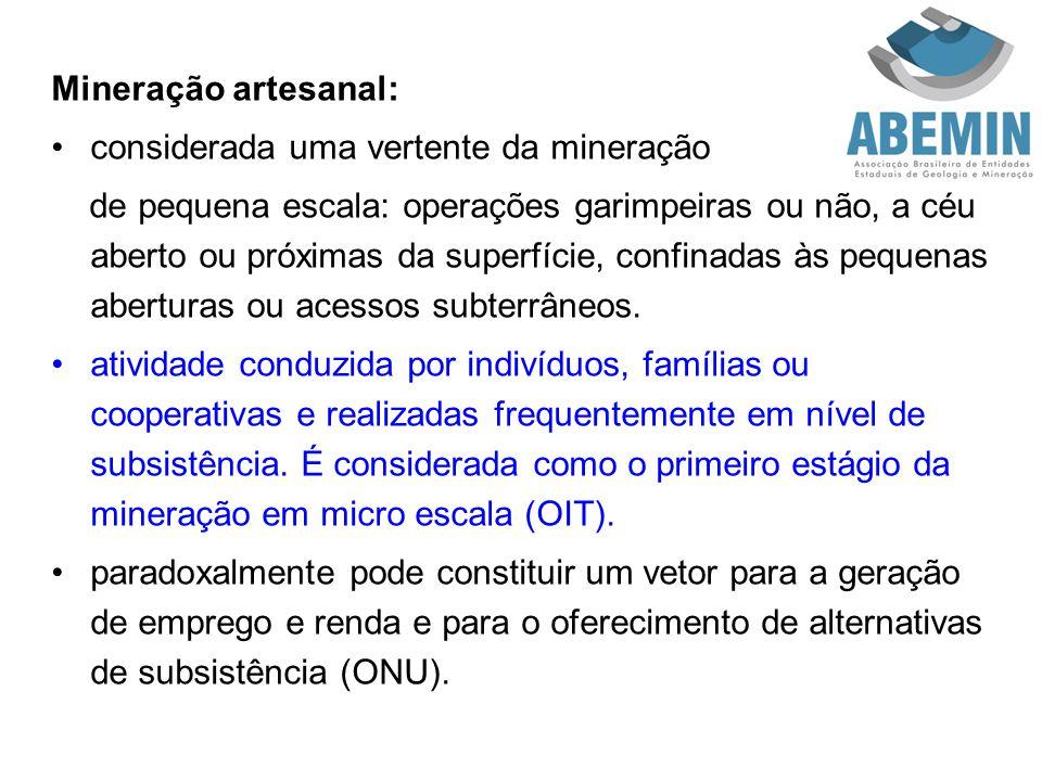Mineração artesanal: considerada uma vertente da mineração de pequena escala: operações garimpeiras ou não, a céu aberto ou próximas da superfície, co