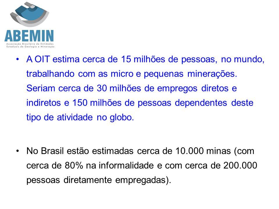 A OIT estima cerca de 15 milhões de pessoas, no mundo, trabalhando com as micro e pequenas minerações. Seriam cerca de 30 milhões de empregos diretos