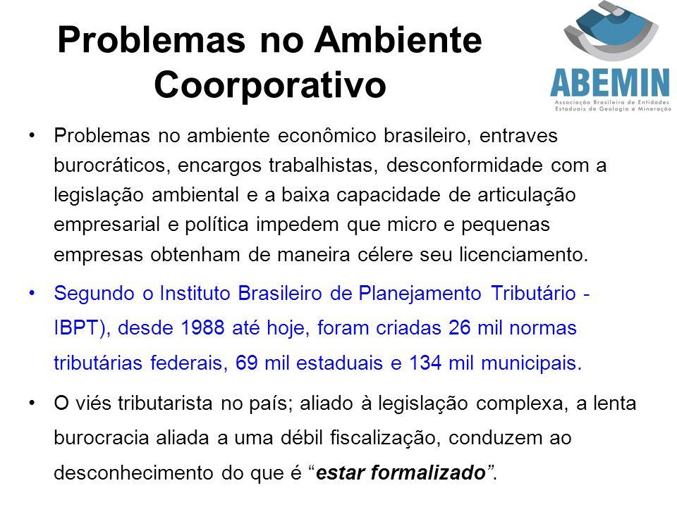 Problemas no Ambiente Coorporativo Problemas no ambiente econômico brasileiro, entraves burocráticos, encargos trabalhistas, desconformidade com a leg
