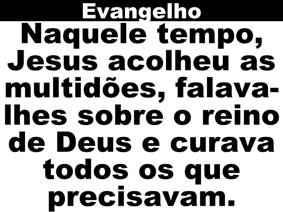Naquele tempo, Jesus acolheu as multidões, falava- lhes sobre o reino de Deus e curava todos os que precisavam. Evangelho