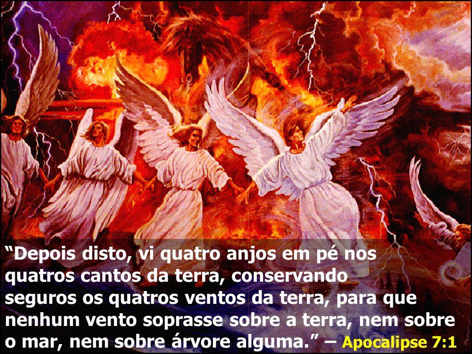 Depois disto, vi quatro anjos em pé nos quatros cantos da terra, conservando seguros os quatros ventos da terra, para que nenhum vento soprasse sobre