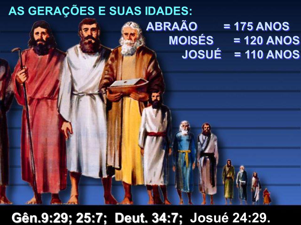 AS GERAÇÕES E SUAS IDADES: ABRAÃO = 175 ANOS MOISÉS = 120 ANOS JOSUÉ = 110 ANOS ABRAÃO = 175 ANOS MOISÉS = 120 ANOS JOSUÉ = 110 ANOS Gên.9:29; 25:7; D