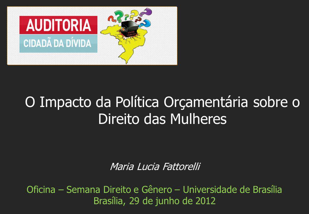 Maria Lucia Fattorelli Oficina – Semana Direito e Gênero – Universidade de Brasília Brasília, 29 de junho de 2012 O Impacto da Política Orçamentária sobre o Direito das Mulheres