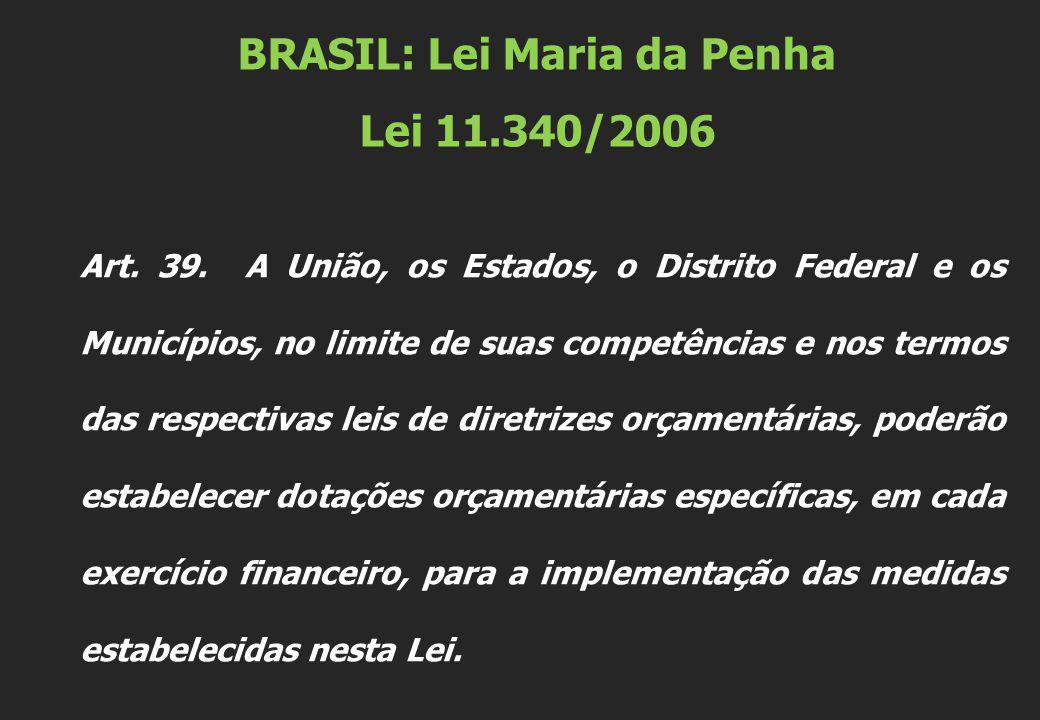 BRASIL: Lei Maria da Penha Lei 11.340/2006 Art. 39.