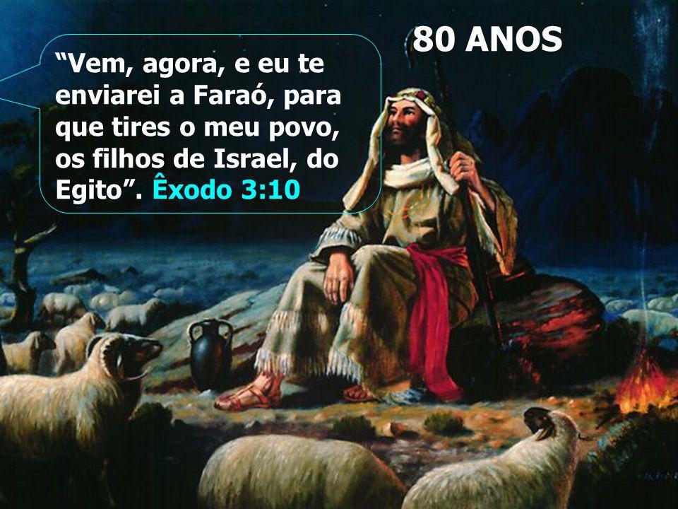 80 ANOS Vem, agora, e eu te enviarei a Faraó, para que tires o meu povo, os filhos de Israel, do Egito.