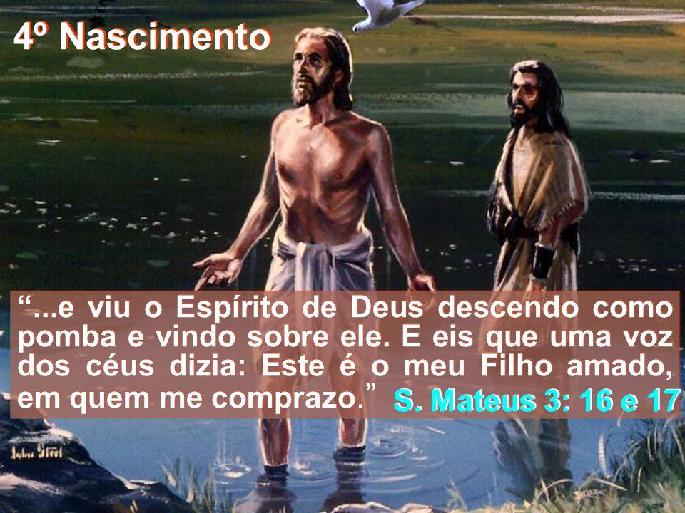 3º Nascimento Então veio Jesus da ter com João, junto do Jordão, para ser batizado por ele. Mas João opunha-se-lhe, dizendo: Eu careço de ser batizado