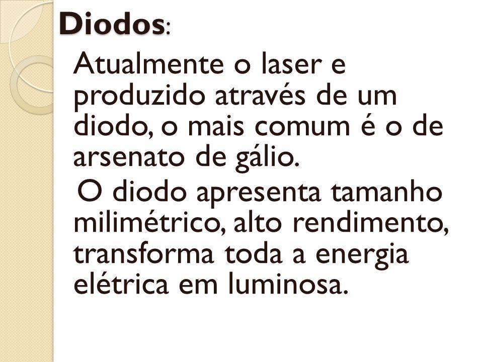 Diodos : Atualmente o laser e produzido através de um diodo, o mais comum é o de arsenato de gálio. O diodo apresenta tamanho milimétrico, alto rendim