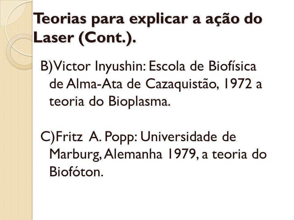 Teorias para explicar a ação do Laser (Cont.). B)Victor Inyushin: Escola de Biofísica de Alma-Ata de Cazaquistão, 1972 a teoria do Bioplasma. C)Fritz