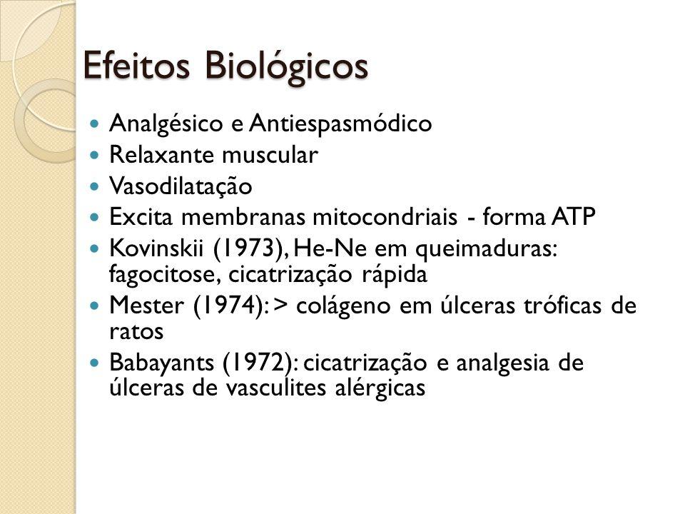 Efeitos Biológicos Analgésico e Antiespasmódico Relaxante muscular Vasodilatação Excita membranas mitocondriais - forma ATP Kovinskii (1973), He-Ne em