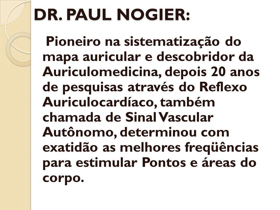 DR. PAUL NOGIER: Pioneiro na sistematização do mapa auricular e descobridor da Auriculomedicina, depois 20 anos de pesquisas através do Reflexo Auricu
