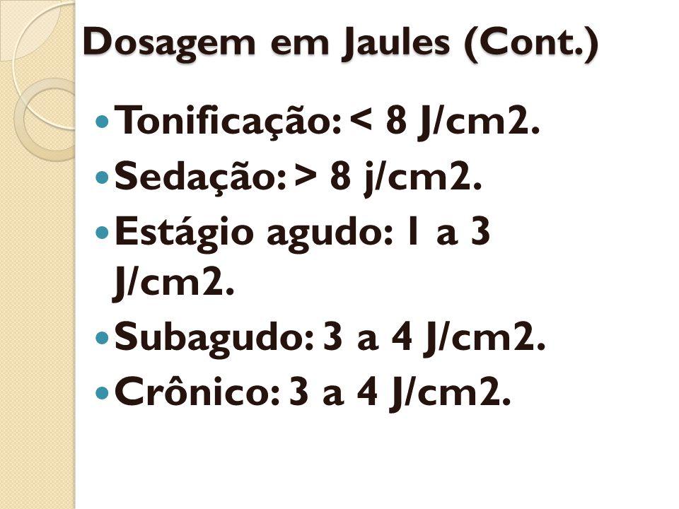 Dosagem em Jaules (Cont.) Tonificação: < 8 J/cm2. Sedação: > 8 j/cm2. Estágio agudo: 1 a 3 J/cm2. Subagudo: 3 a 4 J/cm2. Crônico: 3 a 4 J/cm2.
